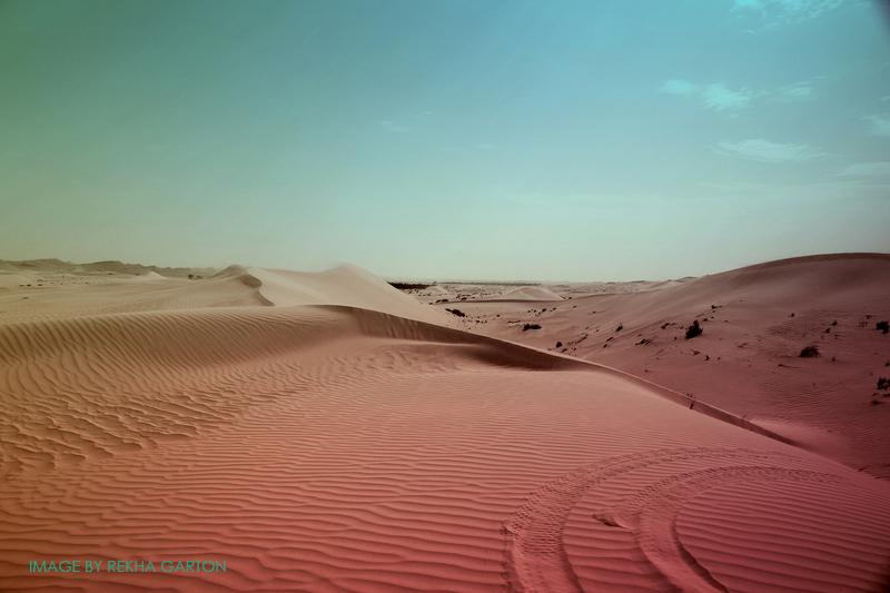 Surreal desert landscape by Rekha Garton/Arcangel Images